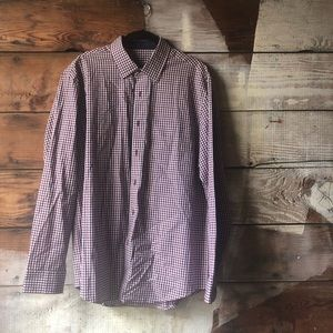 Tasso Elba Red and Black Plaid Button Down Size M
